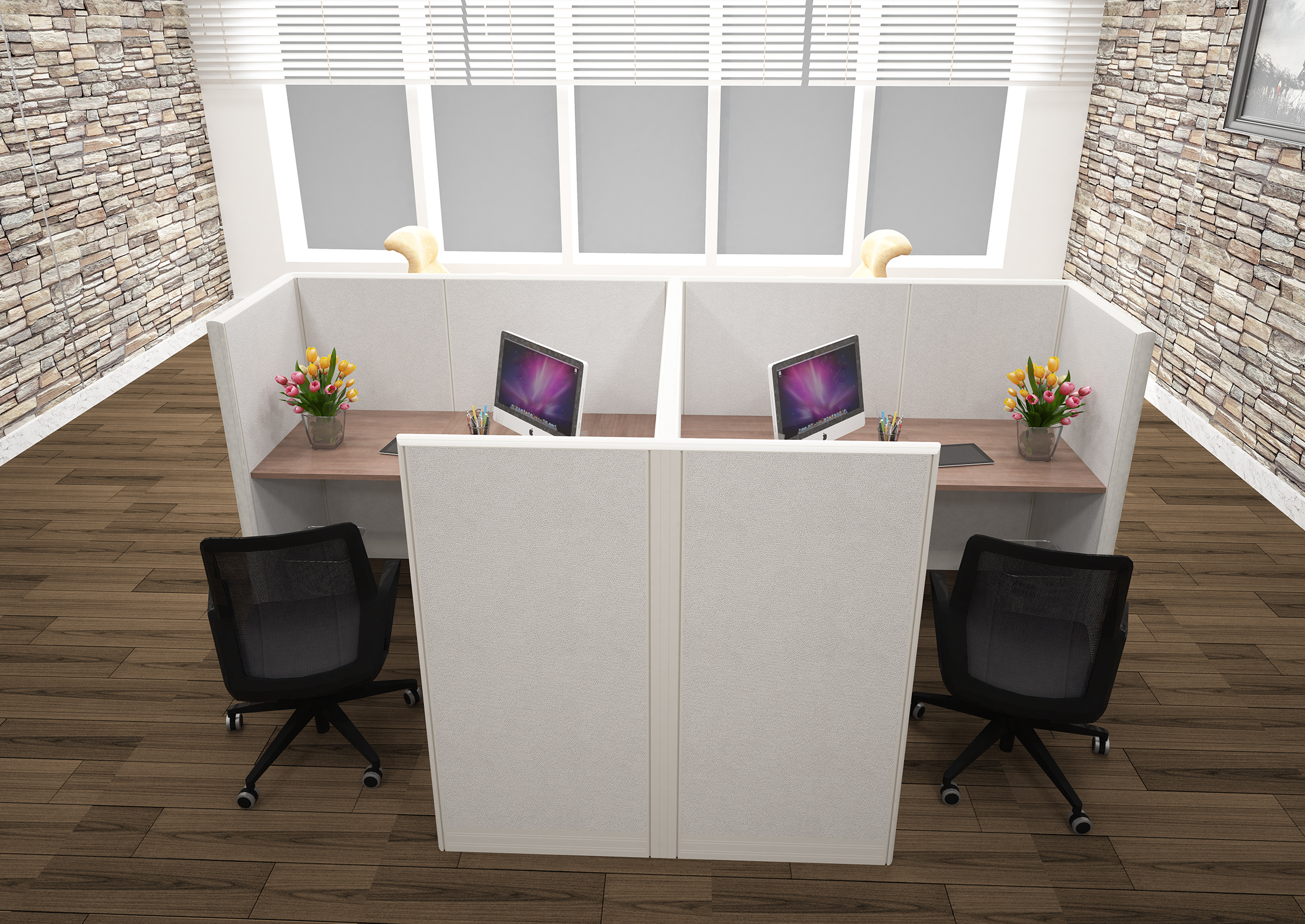 Two Man L Shape Mirror Fully Fabric Cubicles 6 X 6 X 51 Your Sourcing Partner